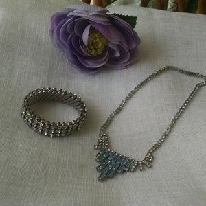 Elegant  Vintage Rhinestone Bracelet & Necklace